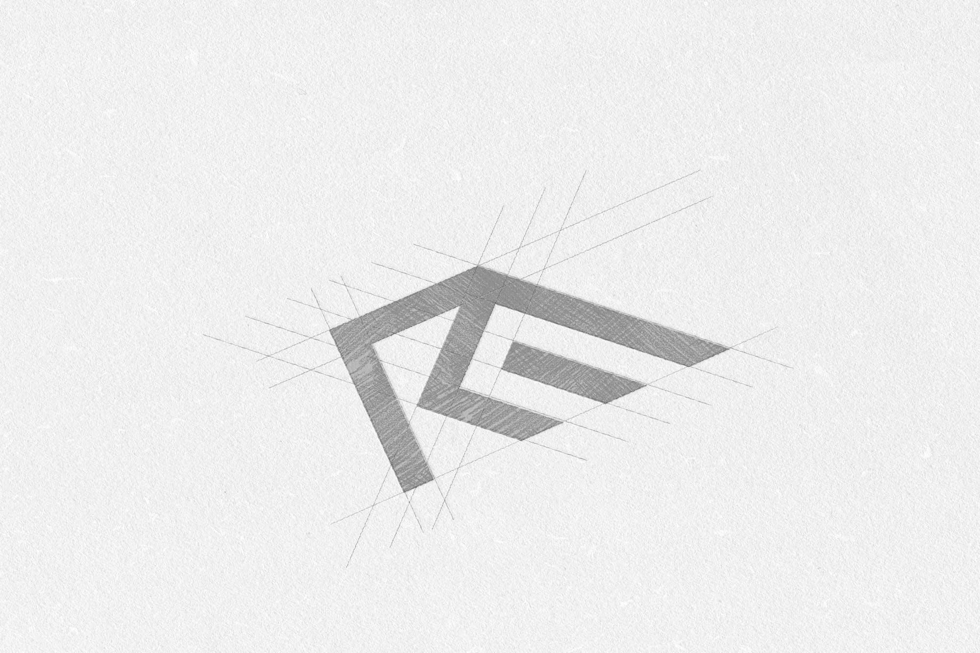 desenho geométrico para estudo do logótipo da marca de serralharia Ribeiro e Moreira