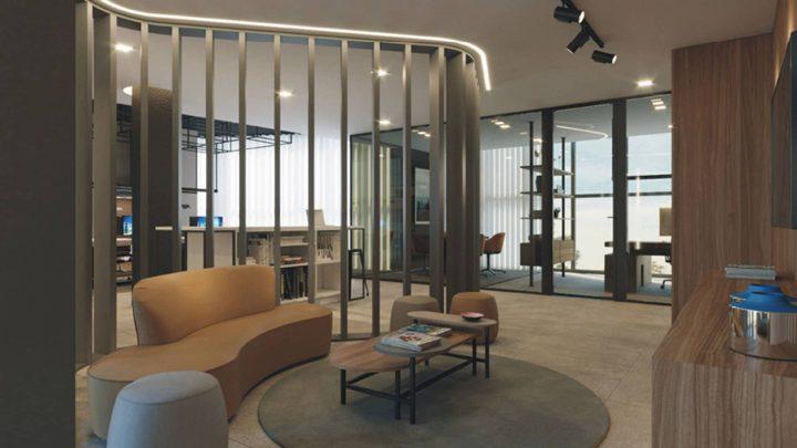 luxuosa area de convívio e sala de espera do estúdio e agência imperfect